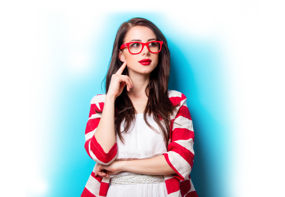 Woman wearing red designer glasses
