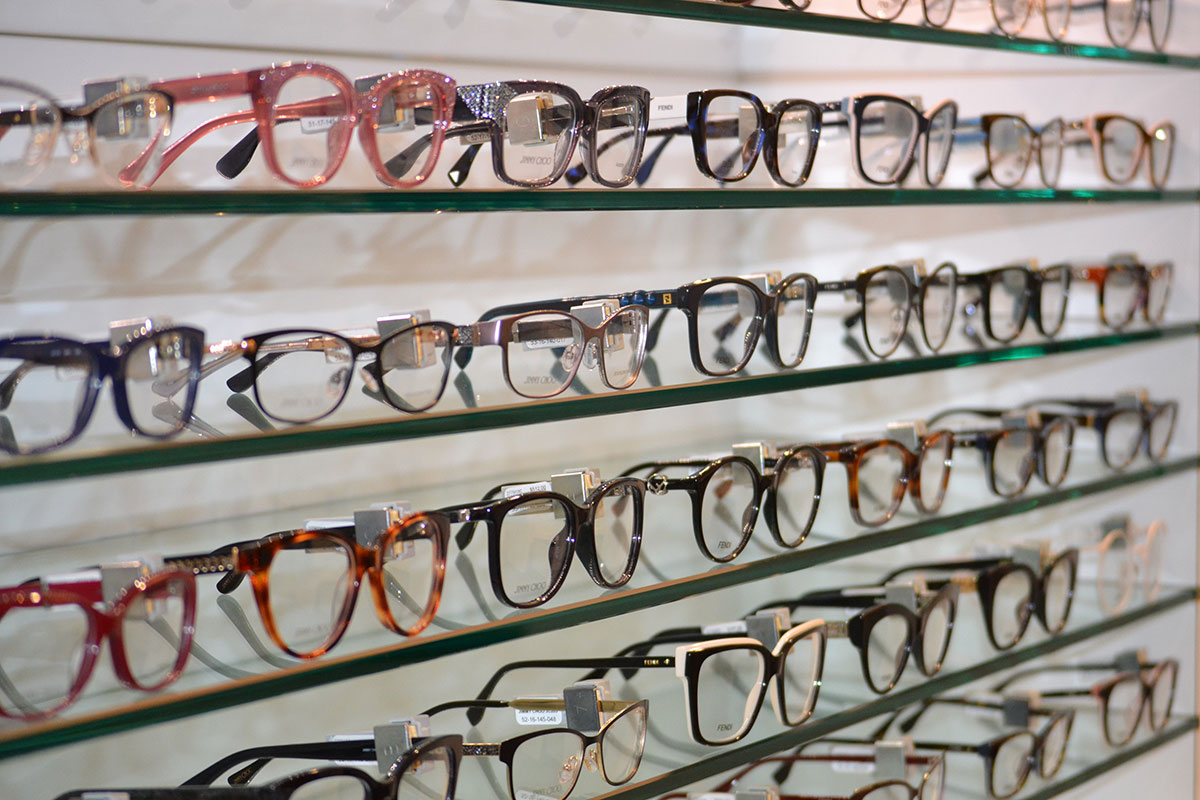 Glasses display on the wall